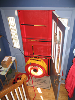 Blower door test for Great Falls homes